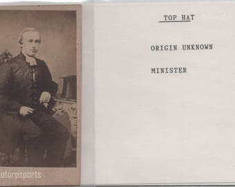 Digital Download - Antique CDV Photograph - Unknown minister with top hat.  Great antique chair.