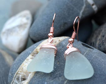 Blue Sea Glass Rose Gold Earrings