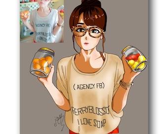Girl portrait from photo Custom Digital Portrait Anime Illustration Customized Anime drawing Digital drawing Portrait Anime art commission