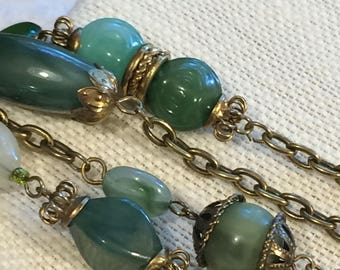 Long Vintage Brasstone and Jade Green Color Multi Shaped Beaded Station Chain Necklace