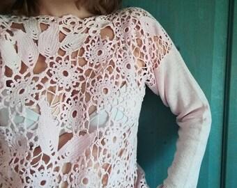 Pink crochet shirt