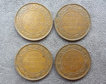 Canadian Coins ~ Canada Coins ~ 4 Coins: 1912, 1913, 1917 & 1919, 1 Cent (Large Cent) ~ King George V ~ Bronze ~ ca06