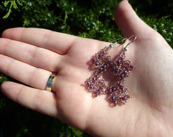 Violet earrings / Dangling flowers earrings / Transparent violet earrings / Gift for her