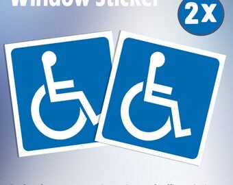 DISABLED BLUE BADGE x 2 Window Stickers