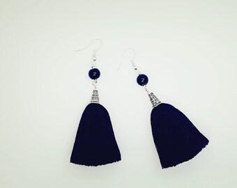 Black tassel earrings with beads