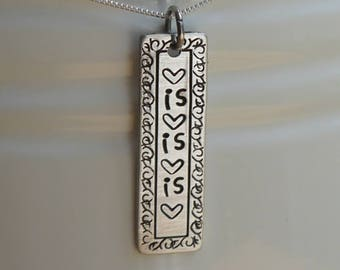 Love is love necklace - hand stamped pendant - feminist jewelry - resistance jewelry