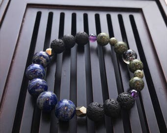 Lapis Lazuli/Pyrite/Volcano Lava/Amethyst/Russian Serpentine/Lampwork Glow in the Dark Beaded Yoga Mala Bracelet. Healing Natural Gemstone.