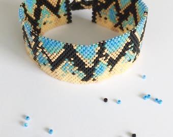 Blue, gold, black Cuff Bracelet