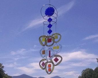 Glass Wind Chime.  Suncatcher, Patio decor, Handmade windchime, Garden decor, Great gift 28
