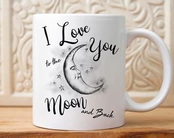 I Love you Gift, I Love you Mug, Anniversary Gift, wedding gift, Moon mug, gift with moon, Mug with moon, gift for couples, gift for her,mug