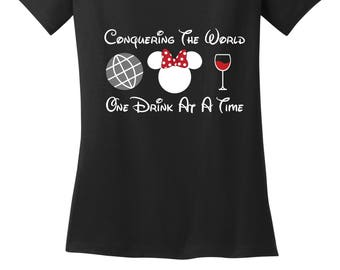 COnquering The World One Drink at a Time EPCOT food and wine drink around the world Minnie ears shirt misses and plus sizes ladies tee