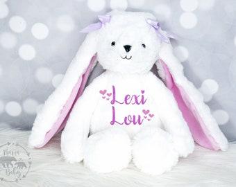 Baby Girls Birth Stat Bunny, Personalized Plush, Birth Announcement Stuffed Animal, Monogrammed Bunny, Newborn Gift, Personalized Bunny