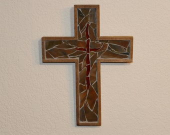 Decorative Cross / Mosaic Wall Cross / Religious Gift / Baptism Gift / Confirmation Gift / Stained Glass Cross / Clearance