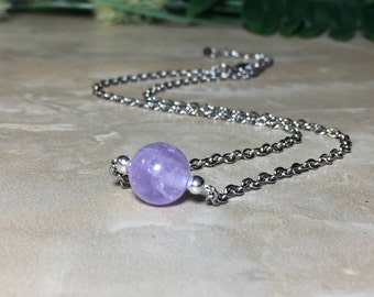 10mm Amethyst Necklace, February Birthstone, Lavender Amethyst Necklace, Amethyst Choker, Healing Crystal, Chakra Crystal, Gift For Her