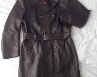 RARE Mens Vintage: Brown Leather Long Trench Coat, Made in England