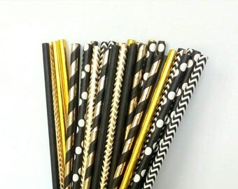 Gold Foil and Black Straws - Gatsby Party Drinking Straws - Gatsby Engagement Party Decorations - Gatsby Baby Shower Party Decorations