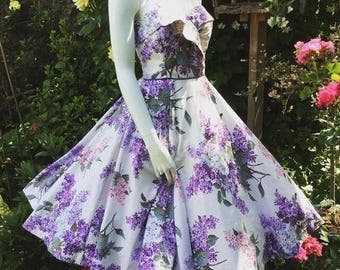Lilac Time  ... Vintage Fifties Floral Dress in a Gorgeous Lilac Print..