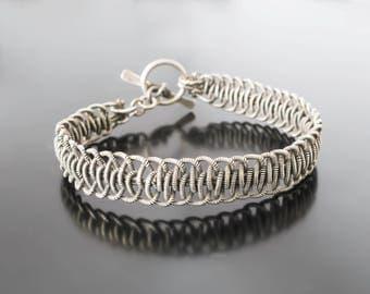 Friendship Cuff Braided Cuff Silver Cuff  Wire Wrapped Bracelet Silver Statement Cuff Friendship Jewelry