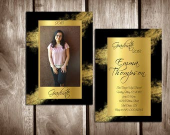 Printable Graduation Announcement/High School Graduation Invitation Template/College Graduation/Class of 2018/Graduation Announcement/Gold