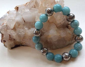 Amazonite and silver plated bead elastic bracelet