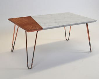 Carrera marble solid surface and polished copper coffee table