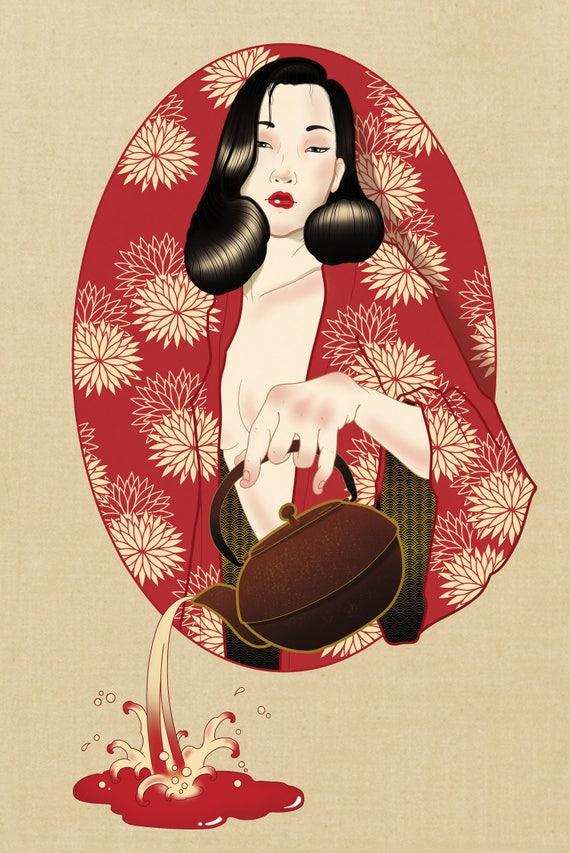Favoloso Japanese geisha Geisha print Japanese print art Japanese NO77