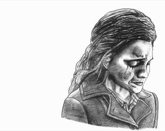 Graphite drawing of Hermione Granger print/reproduction