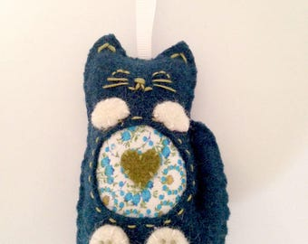 Teal and Olive Wool Plush Cat Ornament