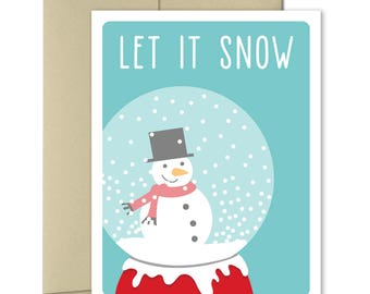 Christmas Card - Holiday Cards - Christmas Stationery - Xmas Novelty Cards - Box Set Xmas Cards - Let it snow