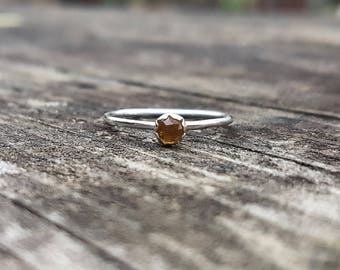 Sale - Size 7 1/2 Citrine Gemstone & Recycled Sterling Silver Ring