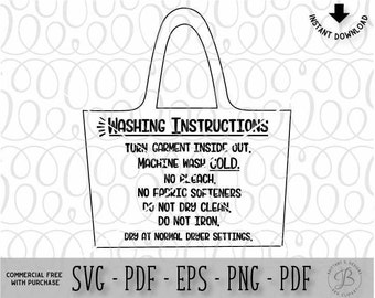 Tote Bag Care Instruction SVG, Svg files, Care instructions SVG, Svg files for cricut