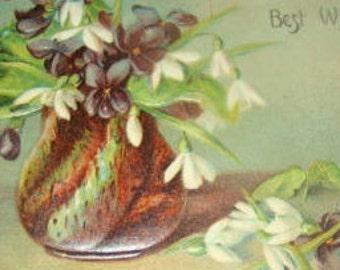 Pretty Vintage Embossed Floral Postcard