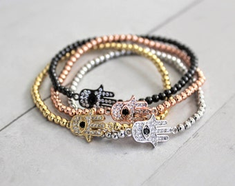 Hamsa Hand Evil Eye Bracelets, 3mm Gold, Rose Gold, Platinum or Gunmetal, Metal Bead Ball Stretch Stack Bracelet, Jewelry for Men or Women