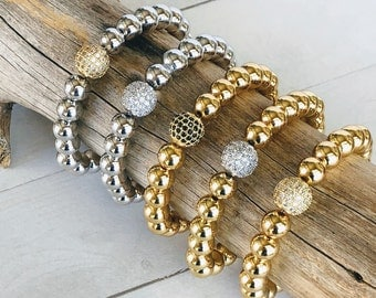 Large Bead Bracelets, Gold or Silver Metal Bead Ball Bracelets, Stretch Bead Ball Stacking Bracelets, Men or Women's Metal Bead Bracelets
