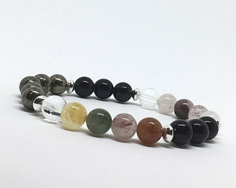 Pyrite Bracelet, Quartz Gemstone Bracelet, Black Onyx Bracelet, Sterling Silver, Meditation Bracelet, Healing Bracelet, Gift-for-Her
