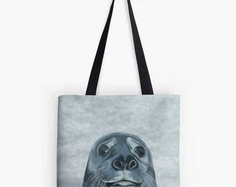 Seal Beach Pool - blue and grey fabric shoulder bag clair - bathing swimming painting portrait in water