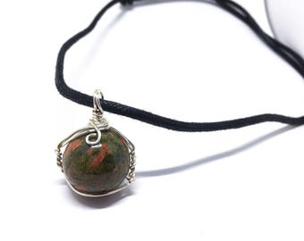 Unakite - Marble Collection - Unakite stone - Wire Wrapped w/ 20ga Silver Wire