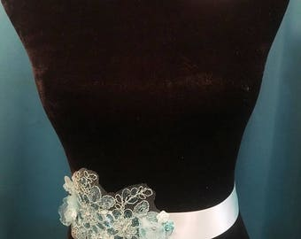 Aqua Teal Satin Sash with Handmade Flowers