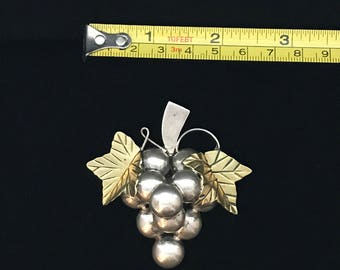 Sterling Silver Pin Large Grapes