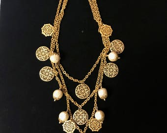Miriam Haskell Brass And Pearl Necklace
