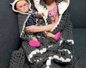 Wolf me and my doll blanket, doll and child blanket, matching blanket, wolf blanket, hooded blanket
