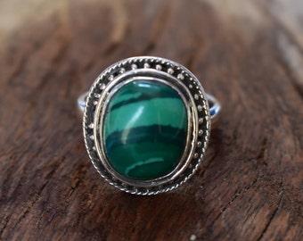 size-8us,malachite ring,92.5 silver ring,vintage design ring, gemstone ring