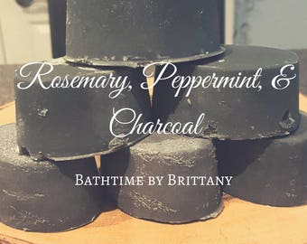 Rosemary, Peppermint, and Charcoal Hair Care--Cold Process-Ready to Ship-Shampoo Bar-Solid Shampoo-Conditioner Bar-Solid Conditioner-Travel