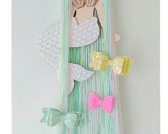 Mermaid hair bow holder, mermaid hair clip holder, hair bow storage, hair clip hanger, mermaid theme, ocean theme, hair accessories, mermaid