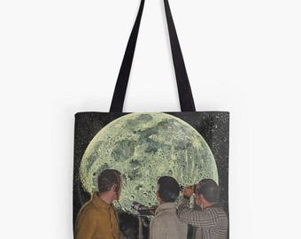 Astronaut Tote, Astronaut Bag, Moon Tote, Moon Bag, Moon Purse, Planet Tote, Planet Bag, Planet Purse, Shopping Bag, Book Bag, Recycle Bag