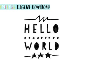 Hello World SVG & PNG Cut File For Cricut Silhouette Vinyl Cutter  Newborn SVG, New Baby Cutting File, Babyshower Babygro Design