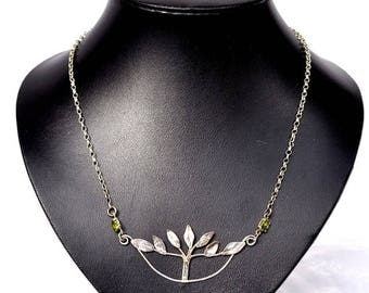 Handcrafted Tree of Life Pendant Necklace in Sterling Silver With Peridot
