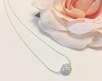 Bridesmaids Gift Necklace, Bridal Party Gift, Crystal Bead Necklace, Crystal Pendant Necklace, Silver Necklace,Crystal Necklace