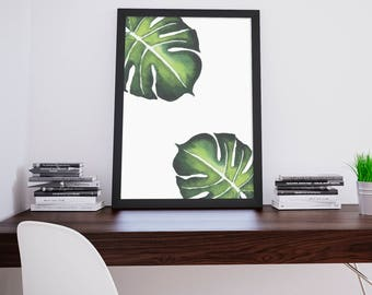 Tropical Leaf Print, Tropical Leaves Print, Monstera Leaf Print, Digital Print, Banana Leaf Print, Minimalist Print, Hawaii Inspired Print