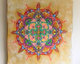 Mandala art, psychedelic art, original painting, sacred geometry, ready to hang, wall art, hand painted, original art